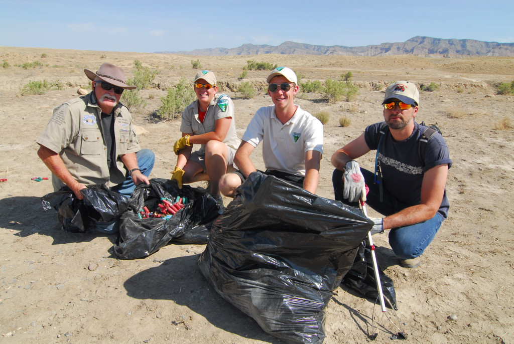 BLM folks helped us haul out everything from shotgun shells (by the leaf garbage bag full) to TV's and tires on Desert Cleanup Day of the Rock Junction event.