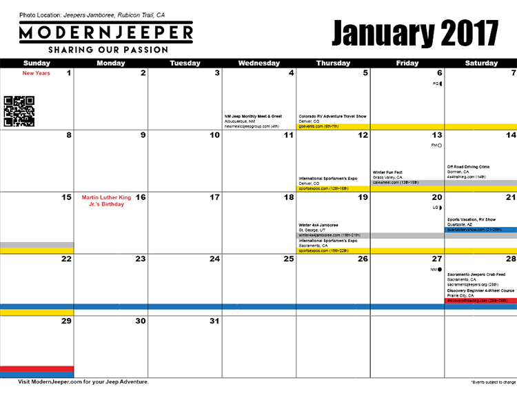 ItS Here The  Modernjeeper Off Road Event Calendar  Modern