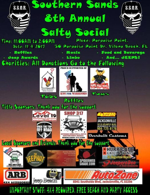 Southern Sands 8th Annual Salty Social @ Porpoise Point, Vilano Beach (4x4 only beach) | | |