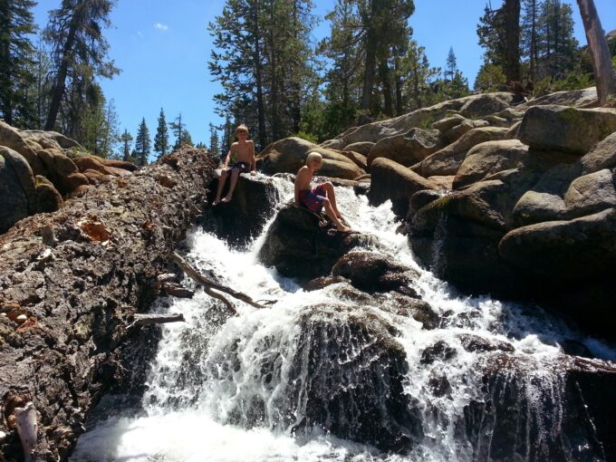 Rubicon Springs waterfall with kids having fun in river
