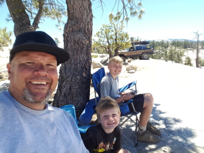 Kurt Schneider and sons on Rubicon Trail with Wagoneer Jeep