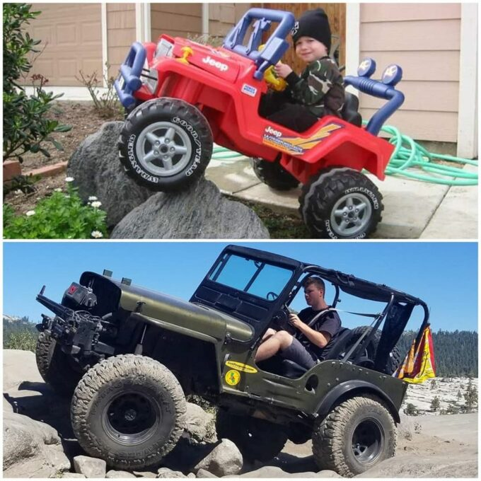 Kurt Schneider pic of his son in toy jeep and real Willys Jeep.