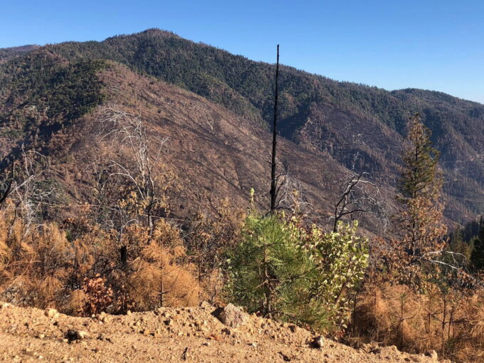 Wildfire burned mountains in Chappie Shasta OHV Area by Del Albright